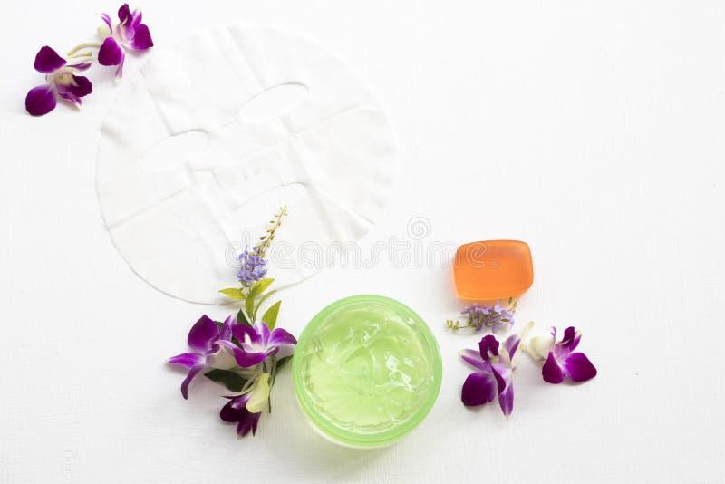 Los cosméticos naturales cubren la máscara, calmando la atención sanitaria del gel para la cara de la piel fotos de archivo libres de regalías