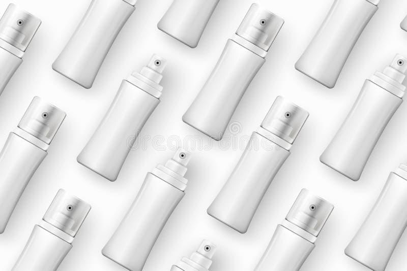Los cosméticos realistas de la plantilla del vector rocían las botellas libre illustration