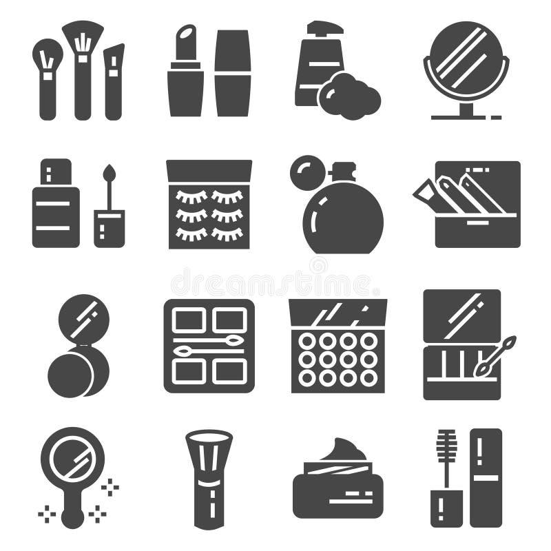 Los cosméticos relacionaron el sistema de los iconos del vector Botella poner crema, lápiz labial, cepillo del maquillaje libre illustration