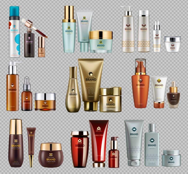 Los cosméticos Vector el paquete realista de la plantilla de los anuncios del paquete ilustración del vector