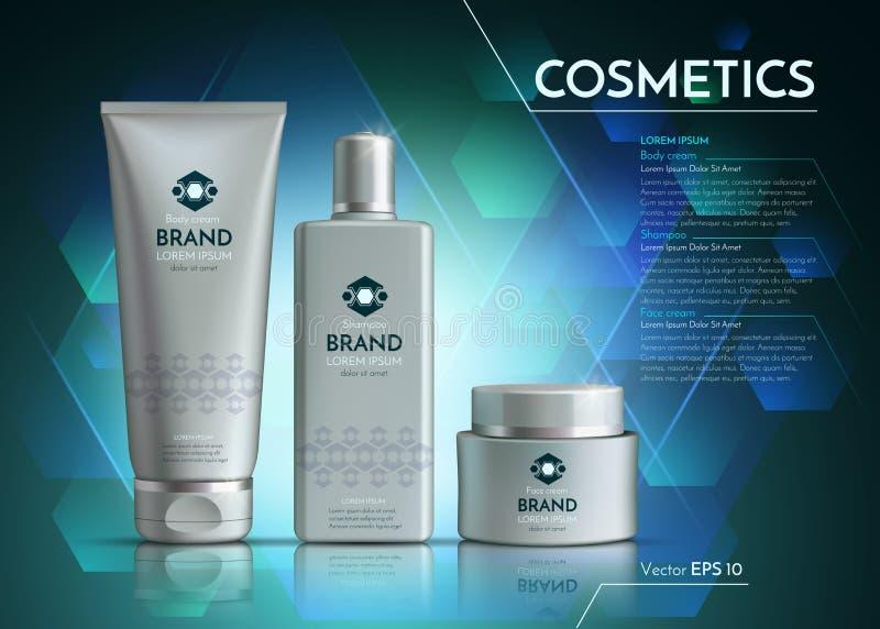 Los cosméticos Vector la plantilla realista de los anuncios del paquete Botellas de los productos de la crema y de pelo de cara E ilustración del vector