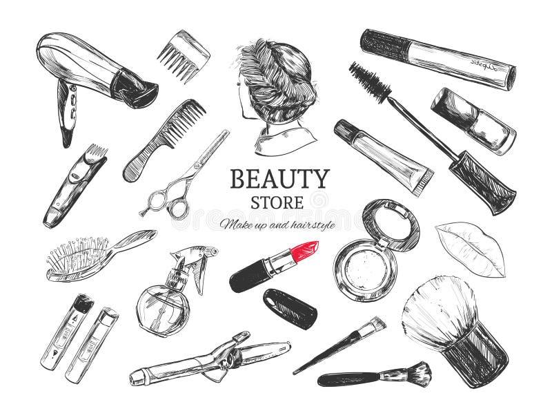 Los cosméticos y el fondo de la belleza con componen objetos del artista y de la peluquería: lápiz labial, crema, cepillo con el  stock de ilustración