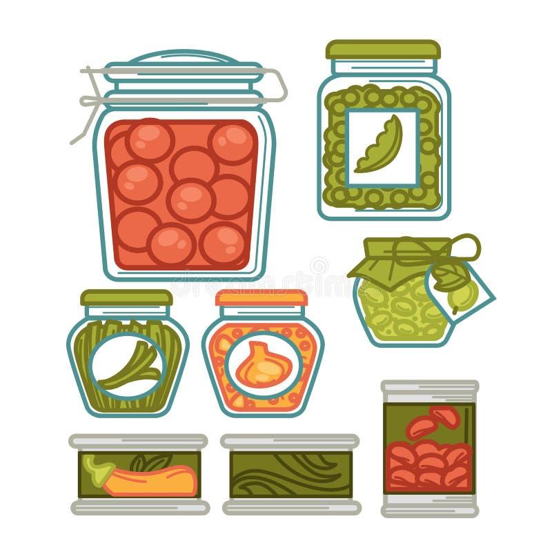 Los cotos en los tarros de cristal, las verduras hechas en casa conservan en vinagre iconos planos del vector libre illustration