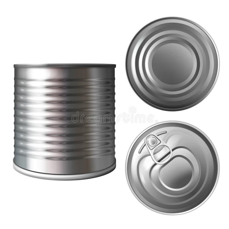 Los cotos metal pueden o estañan el ejemplo del vector 3D stock de ilustración