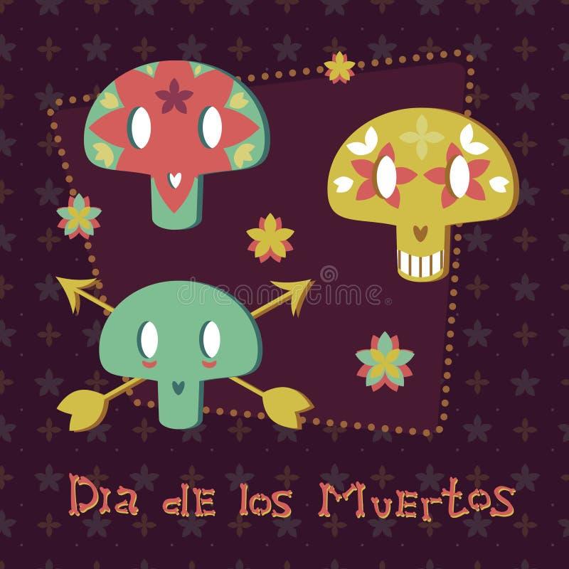 Los cráneos mexicanos del azúcar ilustración del vector