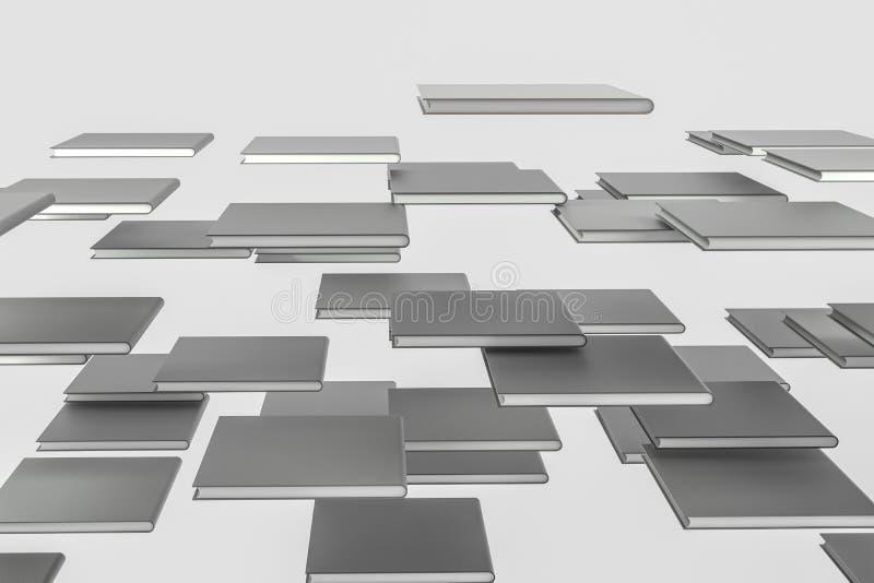 Los cuadernos duros organizados de la cubierta, representación 3d stock de ilustración