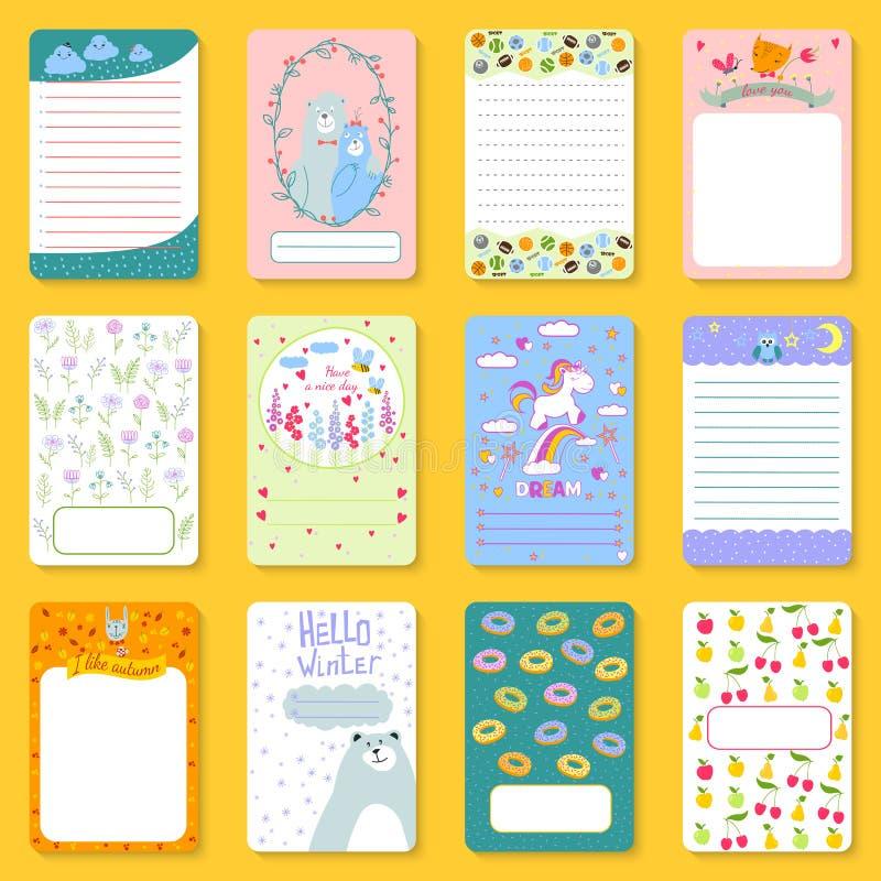 Los cuadernos lindos de los niños del planificador imprimen el ejemplo divertido del vector de la plantilla de la tarjeta de nota stock de ilustración