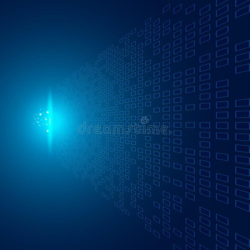 Los cuadrados abstractos modelan perspectiva futurista de los datos de la transferencia en fondo azul con impacto del concepto li ilustración del vector