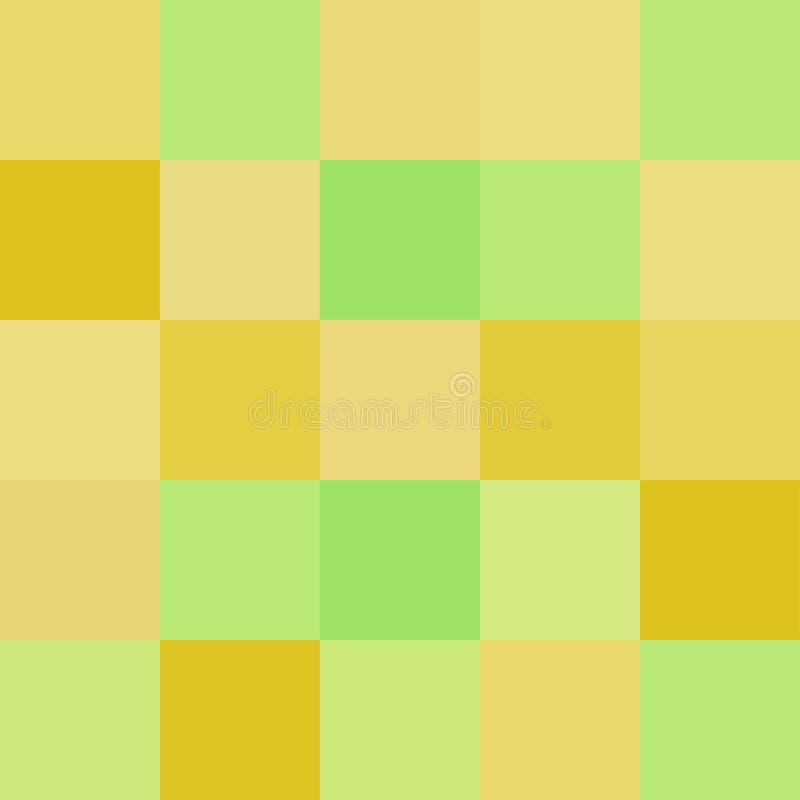 Los cuadrados coloridos colorean el verde amarillo, brillante en colores pastel suave del bloque ilustración del vector