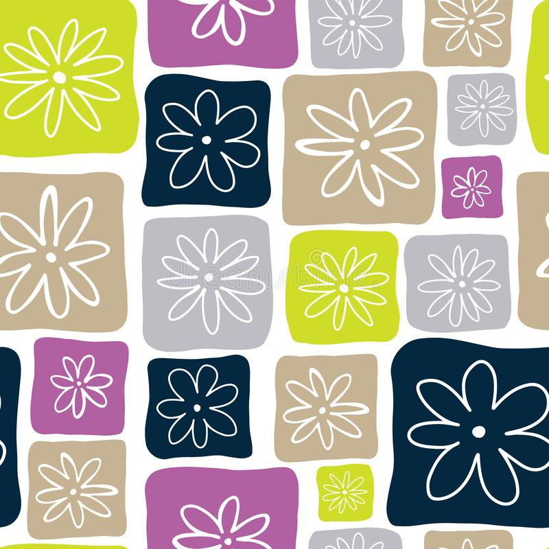 Los cuadrados del garabato abonan con cal, marrón claro, gris, azul marino, y púrpura con las flores blancas en un fondo blanco M stock de ilustración