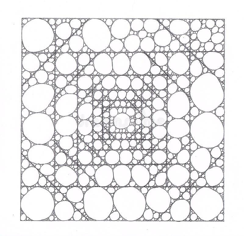 Los cuadrados hechos de cuadrados más pequeños llenaron de los círculos y de las elipses ilustración del vector