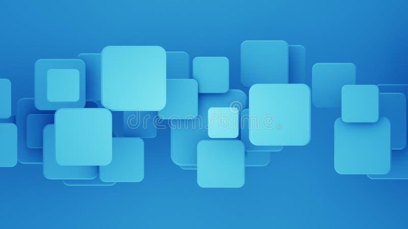 Los cuadrados traslapados 3D del azul rinden el fondo abstracto stock de ilustración