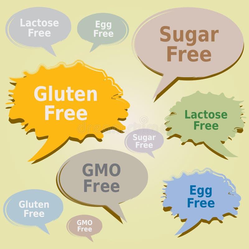 Los cuadros de diálogo marcan los alergénicos de la comida con etiqueta - etiquetas libres de Sugar Lactose Egg OGM del gluten ilustración del vector
