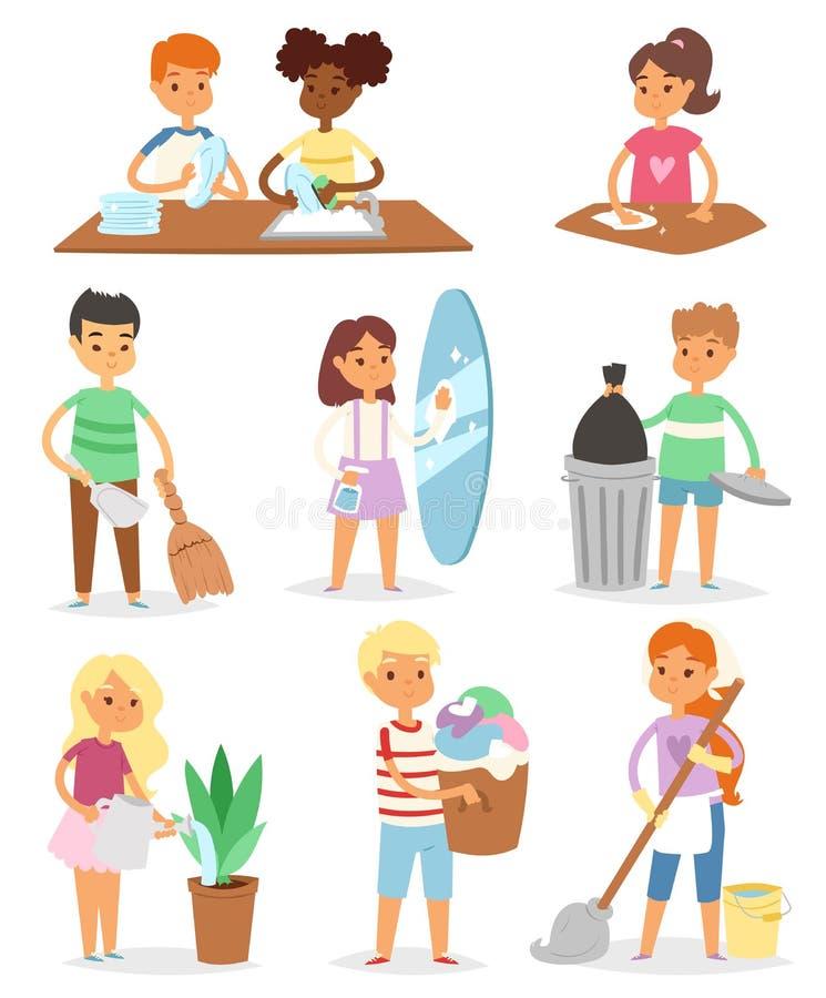 Los cuartos de limpieza del vector de los niños y la ayuda de sus personajes de dibujos animados del quehacer doméstico de las mo ilustración del vector