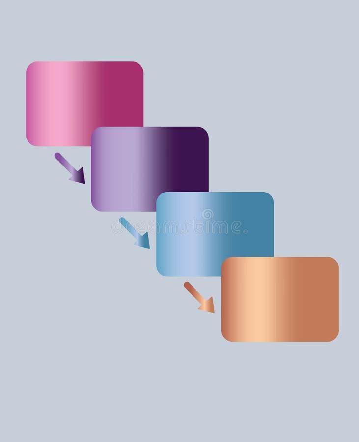 Los cuatro pasos infographic simples diagrama del organigrama con la cuesta en colores pastel stock de ilustración