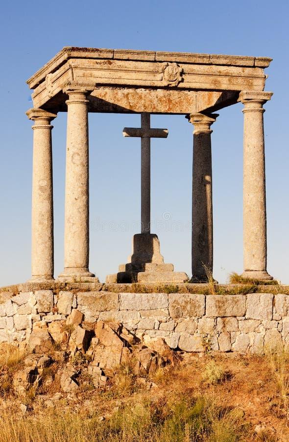 Los-cuatropostes & x28; fyra poles&en x29; , Avila, Castile och Leon, Spa arkivfoto