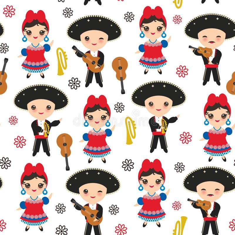 Los cubanos inconsútiles muchacho y muchacha del modelo en niños nacionales de la historieta del traje y del sombrero en Cuba tra ilustración del vector