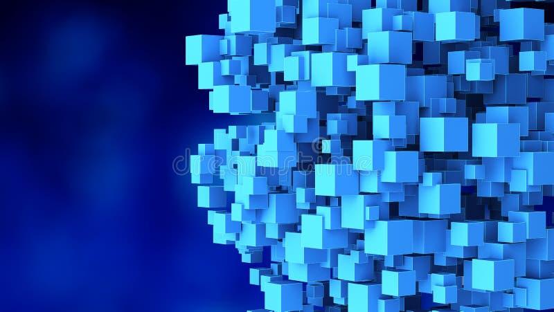 Los cubos abstractos forman una esfera en fondo azul en tecnología stock de ilustración