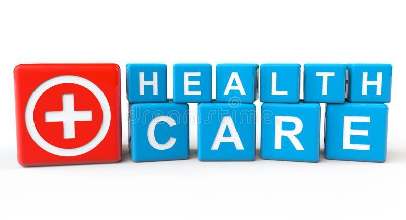Cubos Con La Muestra De La Atención Sanitaria Imagen de archivo