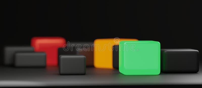 Los cubos creativos del extracto verde anaranjado rojo diseñan el fondo libre illustration