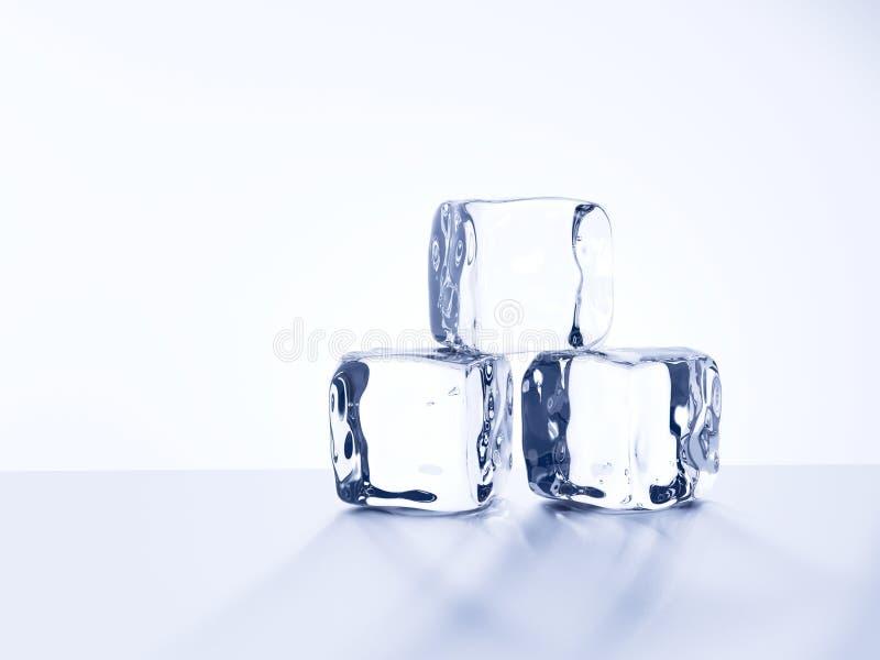 Los cubos de hielo aislaron el fondo blanco ilustración del vector