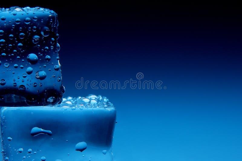 Los cubos de hielo con agua caen el fondo imágenes de archivo libres de regalías