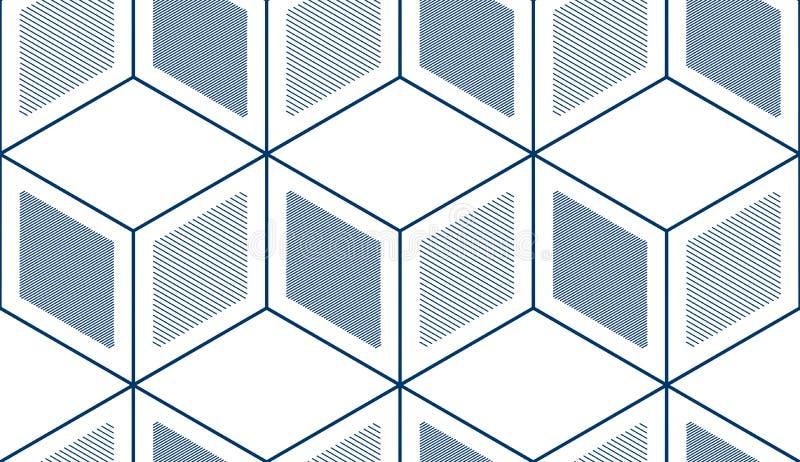 Los cubos geométricos resumen el modelo inconsútil, fondo 3d stock de ilustración
