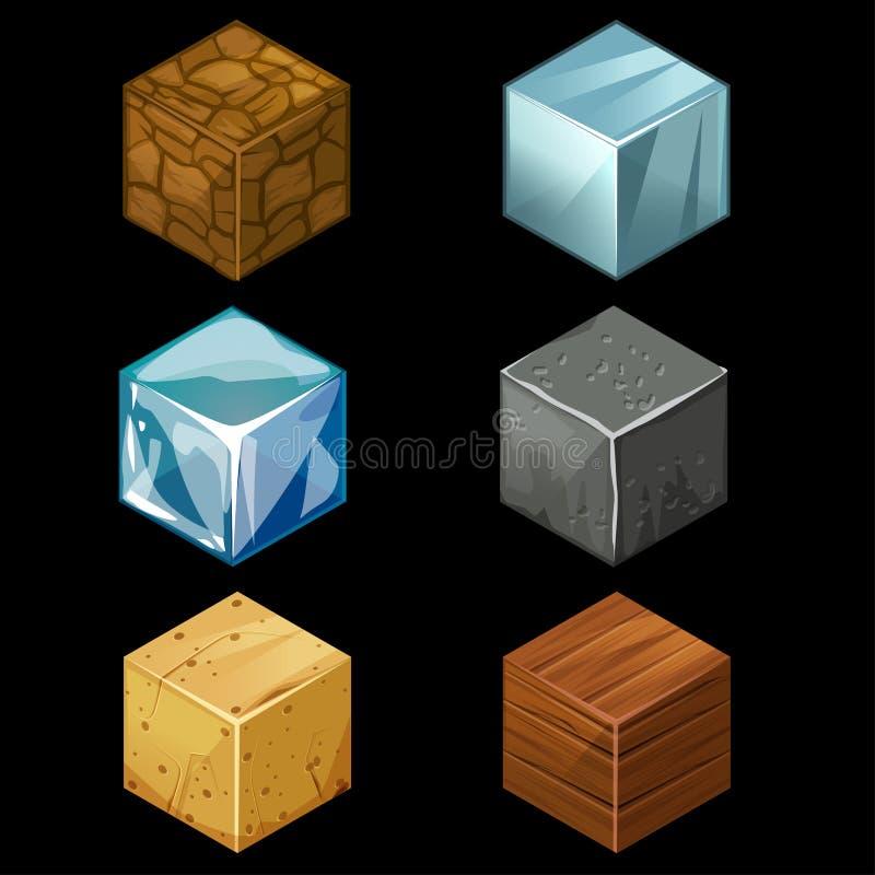 los cubos isométricos del bloque del juego 3D fijaron elementos libre illustration