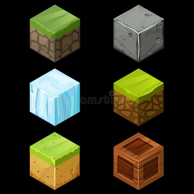 Los cubos isométricos del bloque del juego fijaron elementos libre illustration