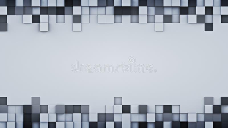 Los cubos y el espacio libre grises sacados 3D rinden ilustración del vector