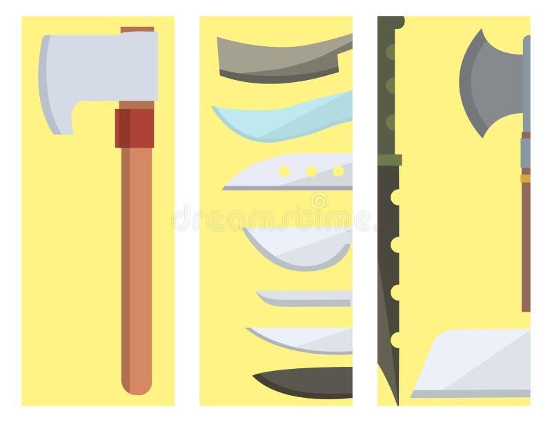 Los cuchillos que cocinan los cuchillos de la comida del cocinero cardan el ejemplo inoxidable del vector de la herramienta de la libre illustration