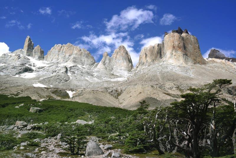 Los Cuernos - Torres del Paine fotografering för bildbyråer