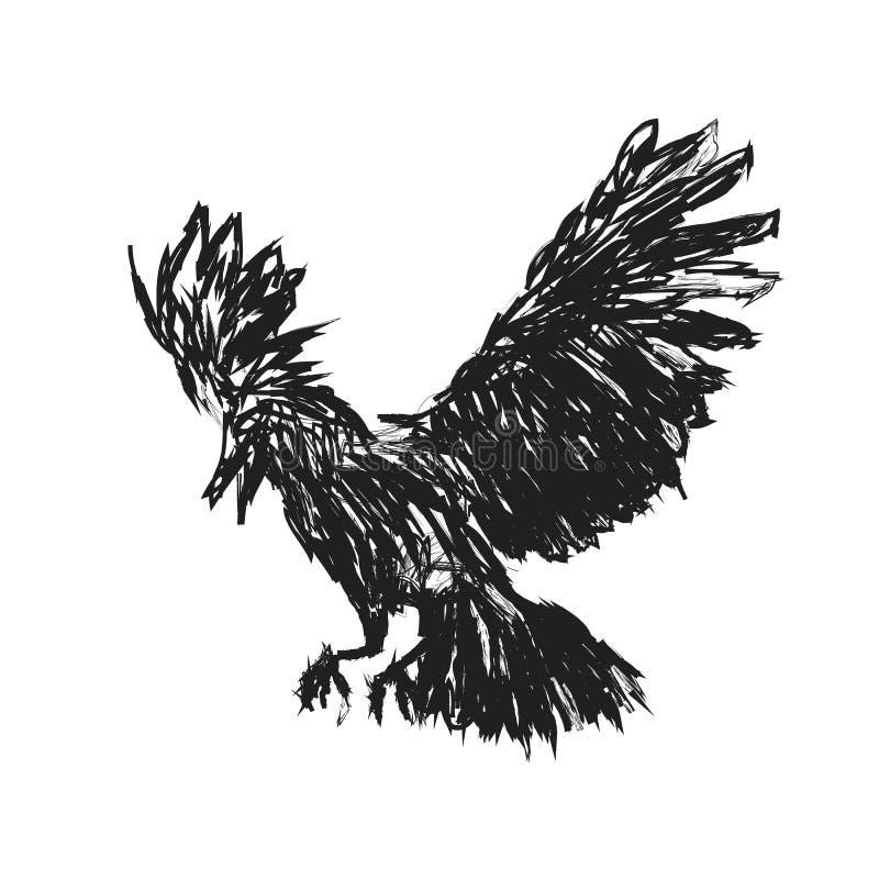 Los cuervos detallados pintaron en tinta en un fondo blanco Alas del cuervo, grunge Un cuervo detallado con las alas sombras del  ilustración del vector