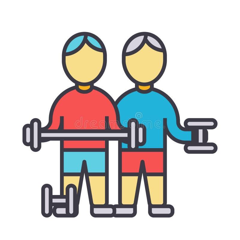 Los culturistas, gimnasio de los fintess, práctica fuerte, pesos, línea plana ejemplo, vector del entrenamiento del concepto aisl ilustración del vector