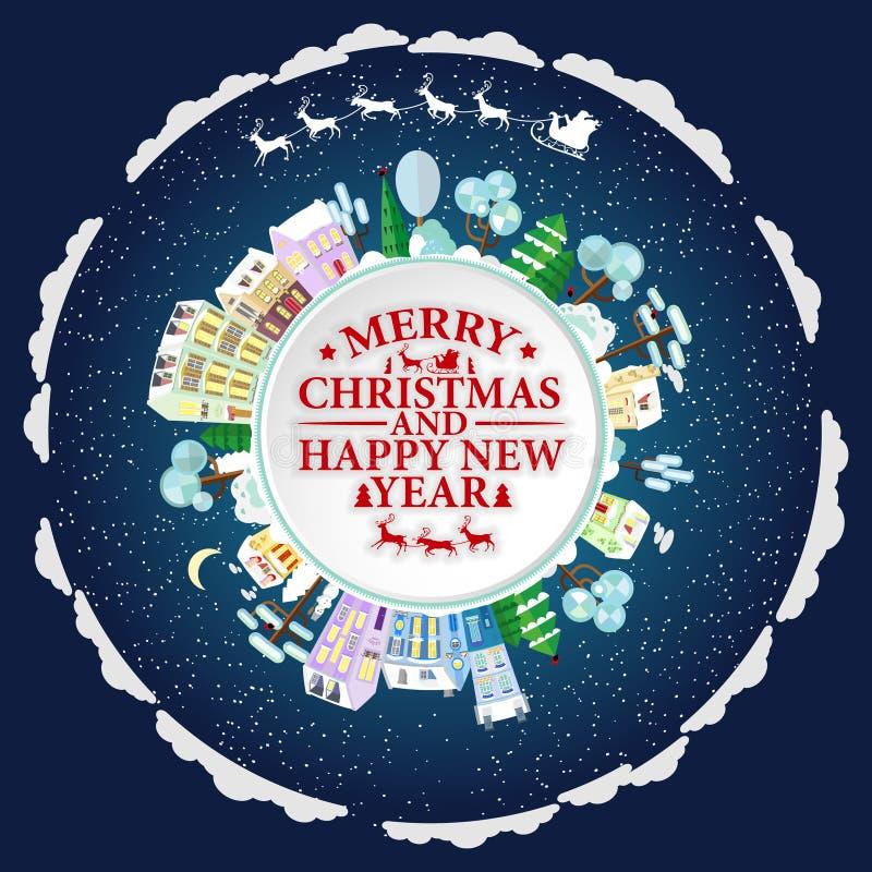 Los días de fiesta enmarcan con las casas y los árboles del invierno Las letras de la Feliz Navidad y de la Feliz Año Nuevo Vecto stock de ilustración