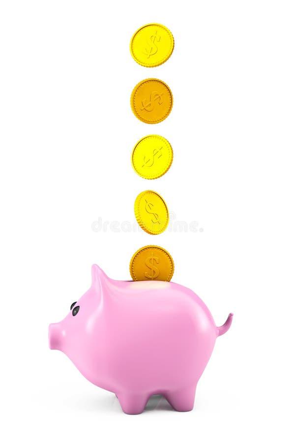 Los dólares de oro acuñan caer en una hucha rosada imagen de archivo libre de regalías