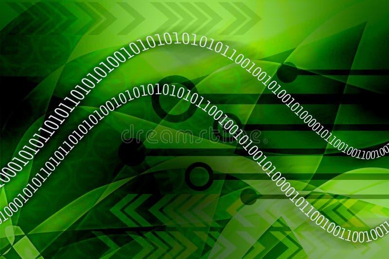 Los datos binarios se escapan - verde stock de ilustración