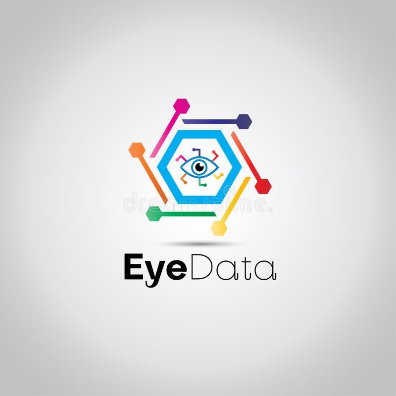 Los datos de Digitaces observan el logotipo libre illustration