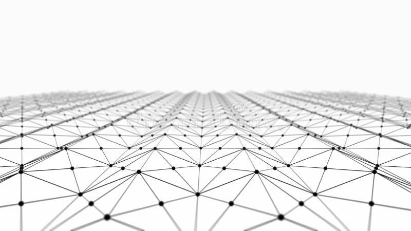 Los datos de Digitaces y el triángulo negro de la conexión de red alinea stock de ilustración