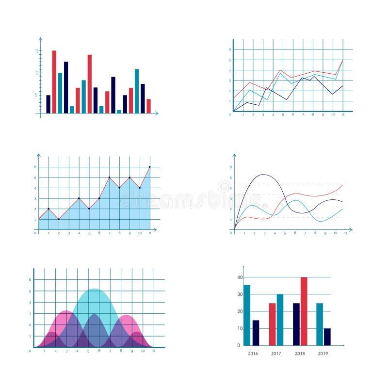 Los datos de negocio comercializan los diagramas de cartas de barra de la empanada del punto de los elementos y los iconos planos stock de ilustración