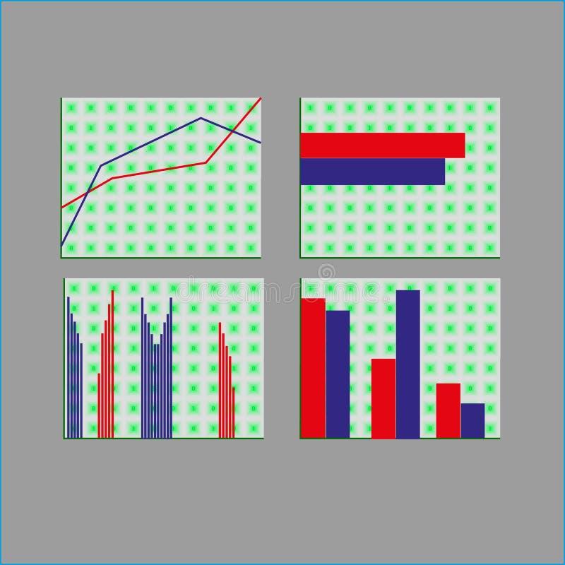 Los datos de negocio comercializan diagramas de los gráficos circulares de la barra del punto de los elementos ilustración del vector