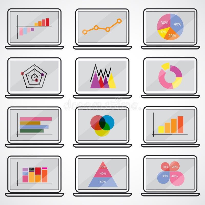 Los datos de negocio comercializan diagramas de los gráficos circulares de la barra del punto de los elementos gráficos ilustración del vector