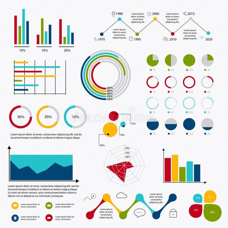 Los datos de negocio comercializan diagramas de los gráficos circulares de la barra del punto de los elementos y a GR stock de ilustración