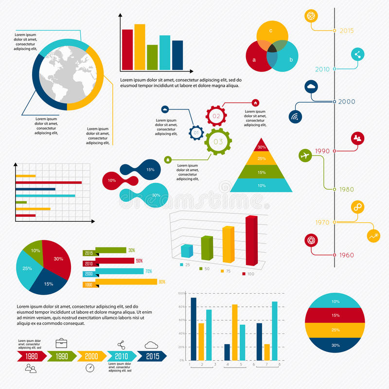 Los datos de negocio comercializan diagramas de los gráficos circulares de la barra del punto de los elementos y a GR ilustración del vector