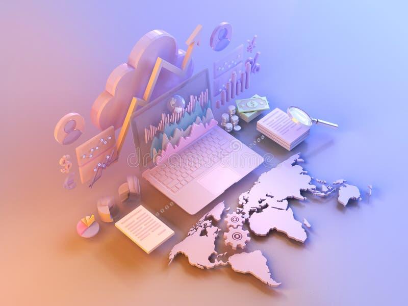 Los datos de negocio comercializan los elementos, cartas, gráficos, diagramas con el mapa del mundo imagenes de archivo