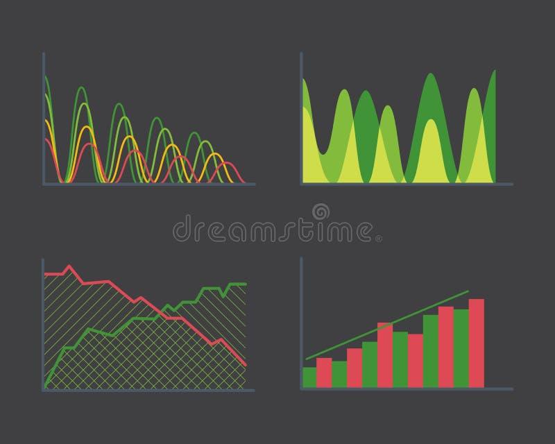 Los datos de negocio representan diagramas de los gráficos circulares de la barra de los elementos del analytics y la presentació libre illustration
