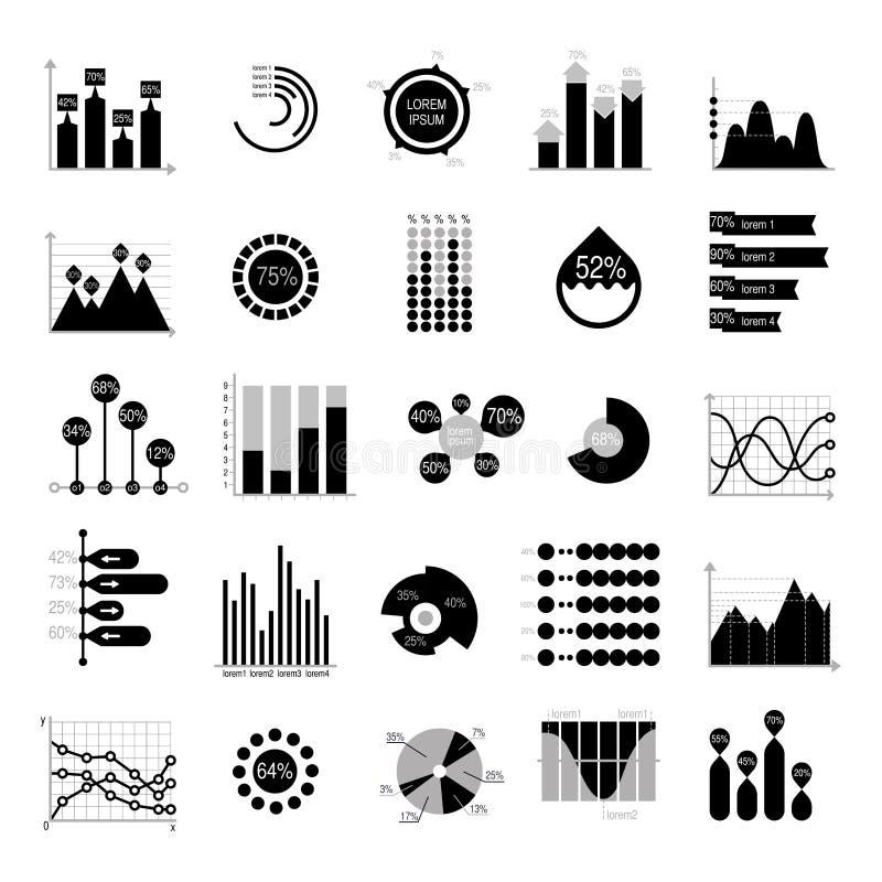 Los datos de negocio representan la silueta negra de los elementos gráficamente del vector del analytics libre illustration