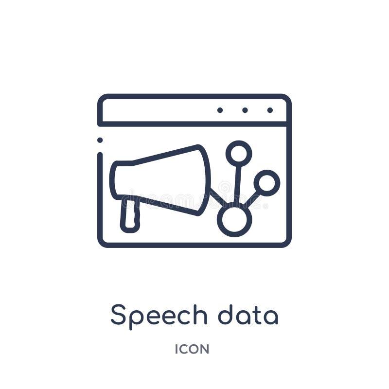 los datos del discurso interconectan el icono audio de la colección del esquema de la interfaz de usuario Línea fina icono audio  stock de ilustración