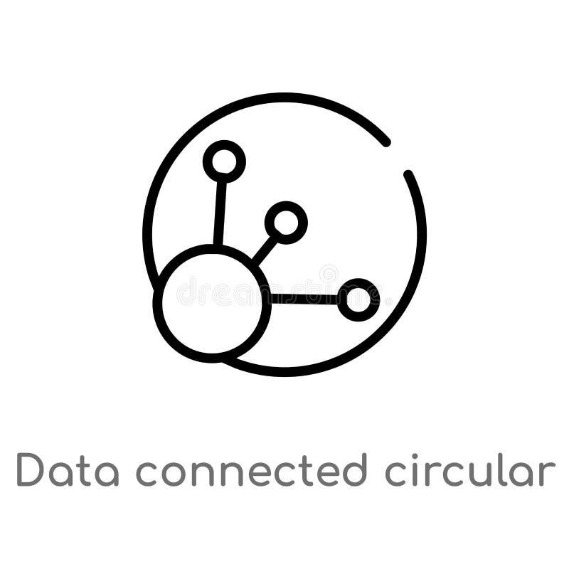 los datos del esquema conectaron el icono circular del vector del interfaz línea simple negra aislada ejemplo del elemento del co ilustración del vector
