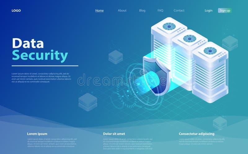 Los datos grandes flujo procesando concepto de la protección de datos Base de datos de la nube, sitio del servidor del web hostin libre illustration